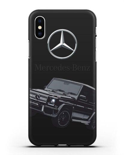 Чехол с картинкой Мерседес Гелендваген силикон черный для iPhone X