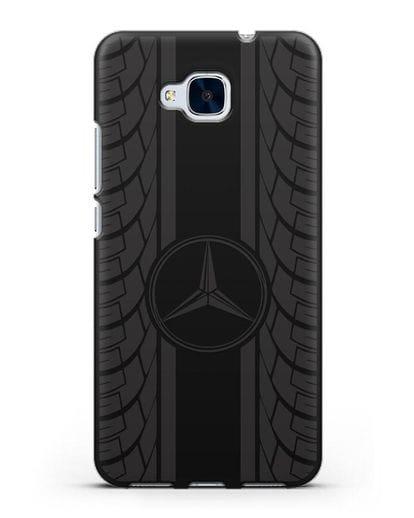 Чехол с логотипом Мерседес Бенц силикон черный для Honor 5C