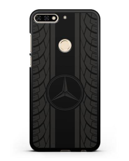 Чехол с логотипом Мерседес Бенц силикон черный для Honor 7C