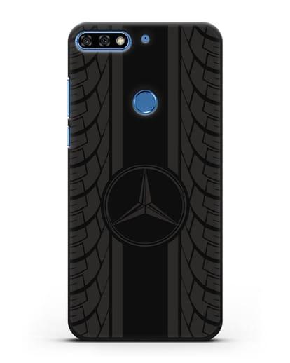 Чехол с логотипом Мерседес Бенц силикон черный для Honor 7C Pro