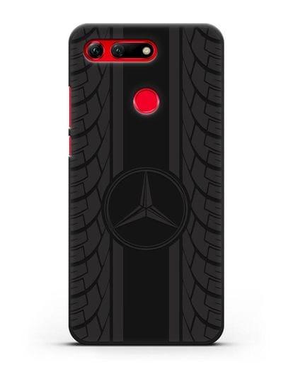 Чехол с логотипом Мерседес Бенц силикон черный для Honor View 20
