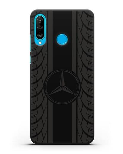 Чехол с логотипом Мерседес Бенц силикон черный для Huawei P30 Lite