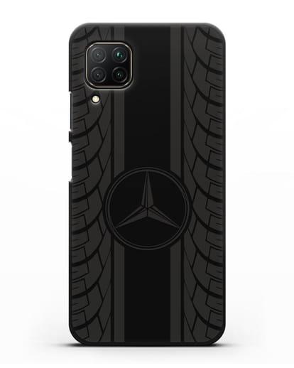 Чехол с логотипом Мерседес Бенц силикон черный для Huawei P40 lite