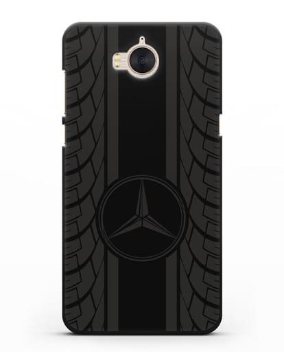 Чехол с логотипом Мерседес Бенц силикон черный для Huawei Y5 2017