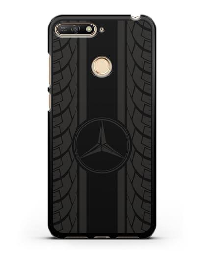 Чехол с логотипом Мерседес Бенц силикон черный для Huawei Y6 Prime 2018