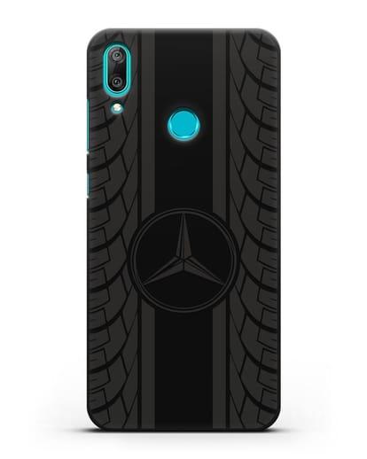 Чехол с логотипом Мерседес Бенц силикон черный для Huawei Y7 2019