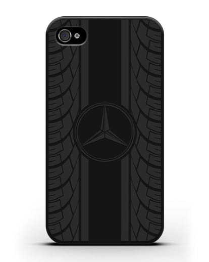 Чехол с логотипом Мерседес Бенц силикон черный для iPhone 4/4s