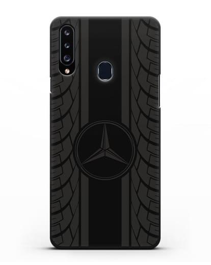 Чехол с логотипом Мерседес Бенц силикон черный для Samsung Galaxy A20s [SM-A207FN]