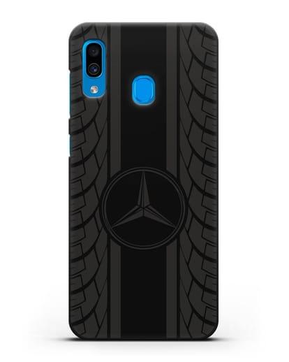 Чехол с логотипом Мерседес Бенц силикон черный для Samsung Galaxy A30 [SM-A305FN]
