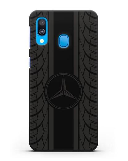Чехол с логотипом Мерседес Бенц силикон черный для Samsung Galaxy A40 [SM-A405F]