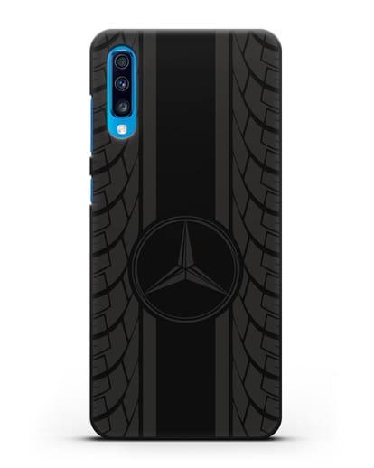 Чехол с логотипом Мерседес Бенц силикон черный для Samsung Galaxy A70 [SM-A705F]