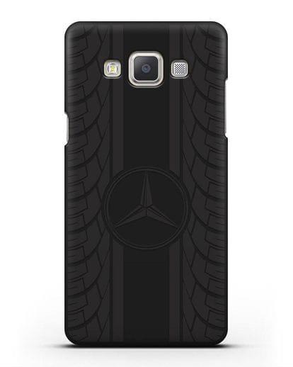 Чехол с логотипом Мерседес Бенц силикон черный для Samsung Galaxy A7 2015 [SM-A700F]