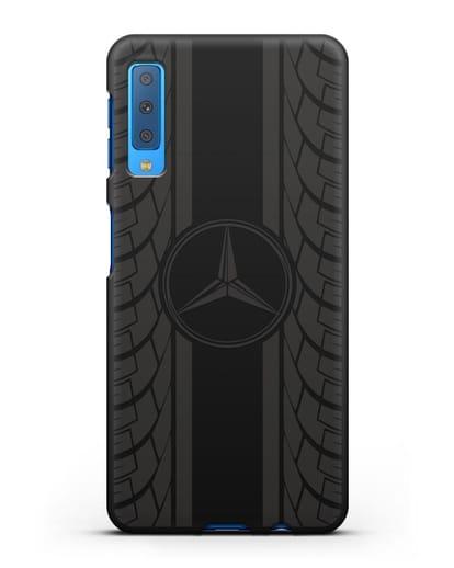 Чехол с логотипом Мерседес Бенц силикон черный для Samsung Galaxy A7 2018 [SM-A750F]
