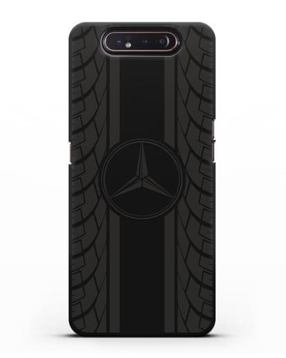 Чехол с логотипом Мерседес Бенц силикон черный для Samsung Galaxy A80 [SM-A805F]