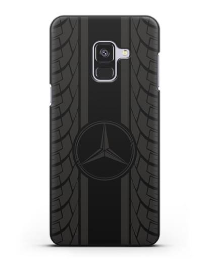 Чехол с логотипом Мерседес Бенц силикон черный для Samsung Galaxy A8 Plus [SM-A730F]