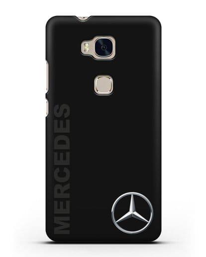 Чехол с надписью Mercedes и логотипом силикон черный для Honor 5X