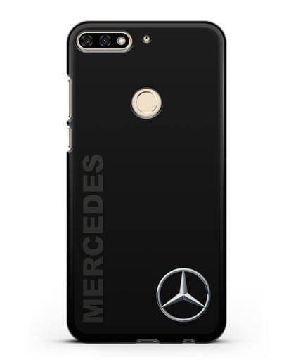 Чехол с надписью Mercedes и логотипом силикон черный для Honor 7C