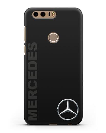Чехол с надписью Mercedes и логотипом силикон черный для Honor 8