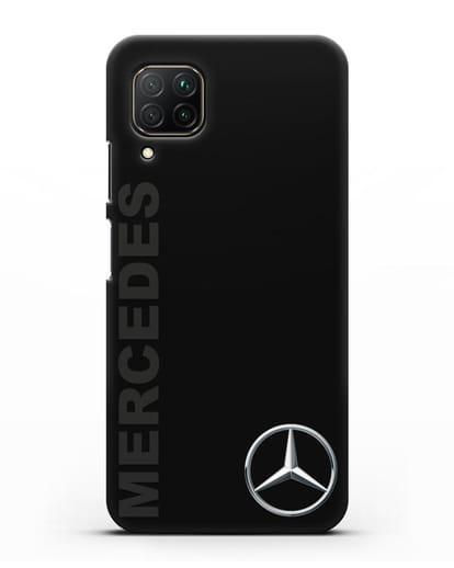 Чехол с надписью Mercedes и логотипом силикон черный для Huawei P40 lite