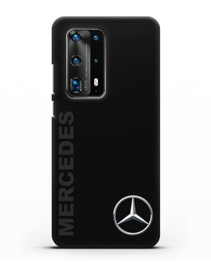 Чехол с надписью Mercedes и логотипом силикон черный для Huawei P40 Pro
