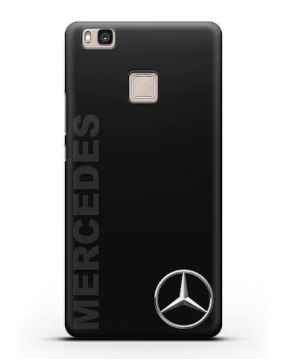 Чехол с надписью Mercedes и логотипом силикон черный для Huawei P9 Lite