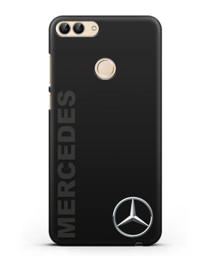 Чехол с надписью Mercedes и логотипом силикон черный для Huawei P Smart
