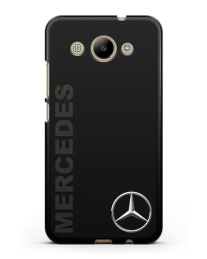 Чехол с надписью Mercedes и логотипом силикон черный для Huawei Y3 2017