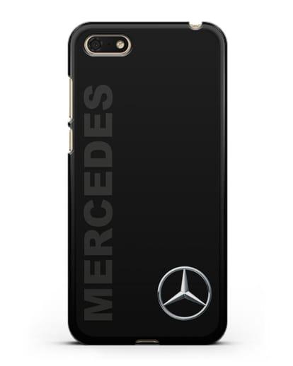 Чехол с надписью Mercedes и логотипом силикон черный для Huawei Y5 Prime 2018