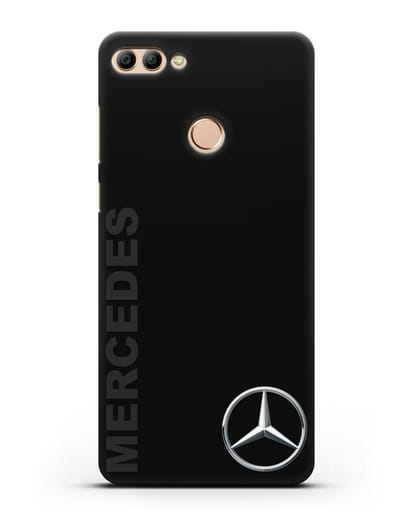 Чехол с надписью Mercedes и логотипом силикон черный для Huawei Y9 2018