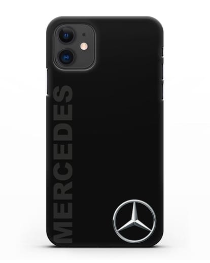 Чехол с надписью Mercedes и логотипом силикон черный для iPhone 11