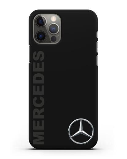 Чехол с надписью Mercedes и логотипом силикон черный для iPhone 12 Pro