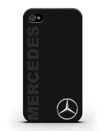 Чехол с надписью Mercedes и логотипом силикон черный для iPhone 4/4s