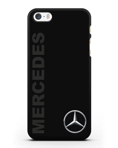 Чехол с надписью Mercedes и логотипом силикон черный для iPhone 5/5s/SE