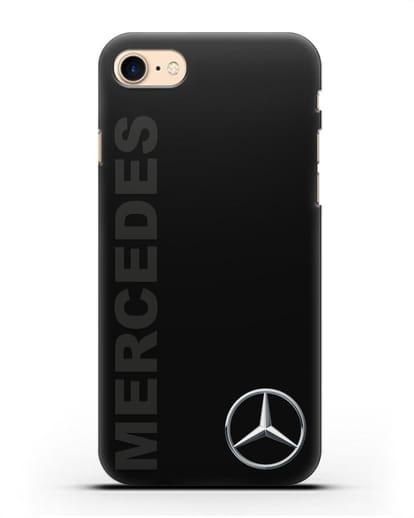 Чехол с надписью Mercedes и логотипом силикон черный для iPhone SE 2020