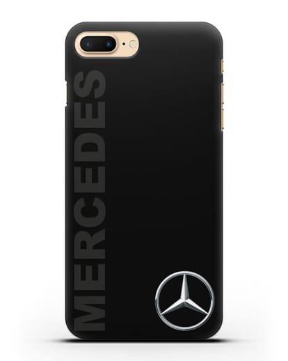 Чехол с надписью Mercedes и логотипом силикон черный для iPhone 8 Plus