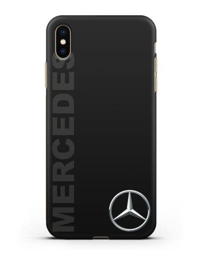 Чехол с надписью Mercedes и логотипом силикон черный для iPhone XS Max