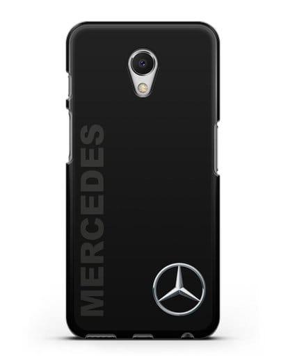 Чехол с надписью Mercedes и логотипом силикон черный для MEIZU M6s