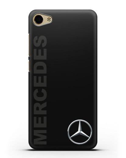 Чехол с надписью Mercedes и логотипом силикон черный для MEIZU U20