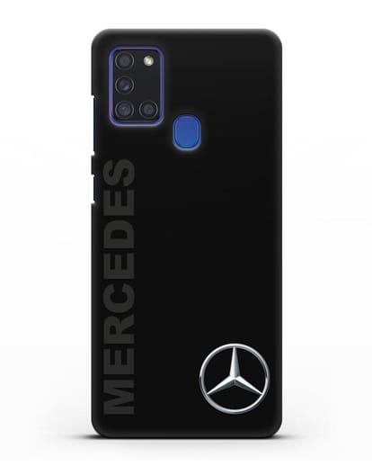 Чехол с надписью Mercedes и логотипом силикон черный для Samsung Galaxy A21s [SM-A217F]