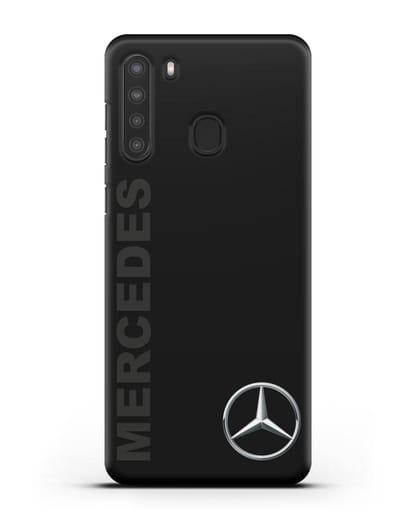 Чехол с надписью Mercedes и логотипом силикон черный для Samsung Galaxy A21 [SM-A215]