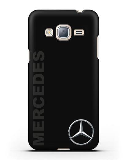 Чехол с надписью Mercedes и логотипом силикон черный для Samsung Galaxy J3 2016 [SM-J320F]