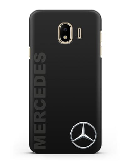 Чехол с надписью Mercedes и логотипом силикон черный для Samsung Galaxy J4 2018 [SM-J400F]