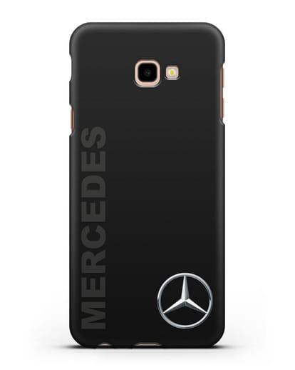Чехол с надписью Mercedes и логотипом силикон черный для Samsung Galaxy J4 Plus [SM-J415]