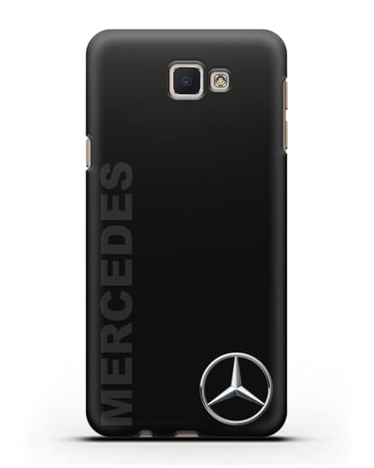 Чехол с надписью Mercedes и логотипом силикон черный для Samsung Galaxy J7 Prime [SM-G610F]