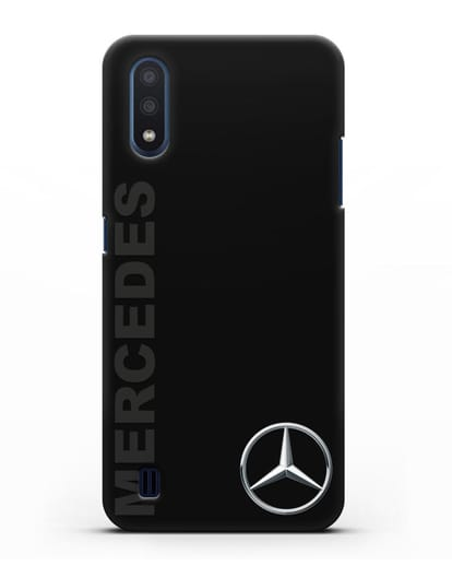 Чехол с надписью Mercedes и логотипом силикон черный для Samsung Galaxy M01 [SM-M015F]