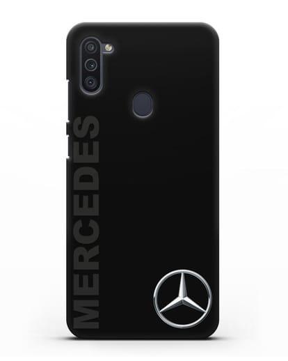 Чехол с надписью Mercedes и логотипом силикон черный для Samsung Galaxy M11 [SM-M115F]