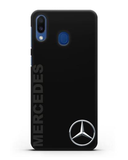 Чехол с надписью Mercedes и логотипом силикон черный для Samsung Galaxy M20 [SM-M205F]
