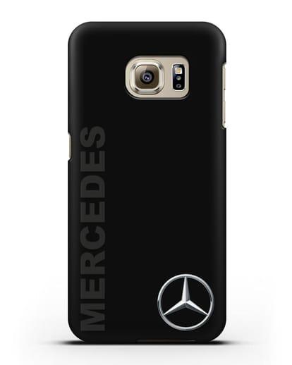 Чехол с надписью Mercedes и логотипом силикон черный для Samsung Galaxy S6 Edge [SM-G925F]