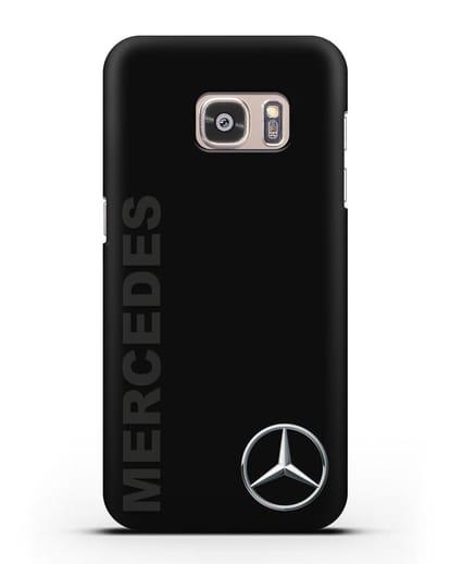 Чехол с надписью Mercedes и логотипом силикон черный для Samsung Galaxy S7 Edge [SM-G935F]