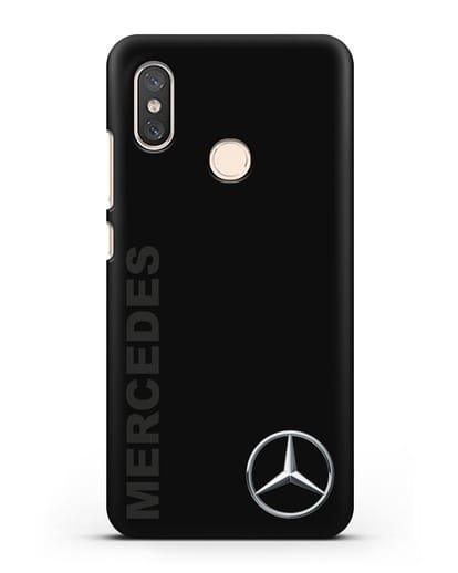 Чехол с надписью Mercedes и логотипом силикон черный для Xiaomi Mi 8